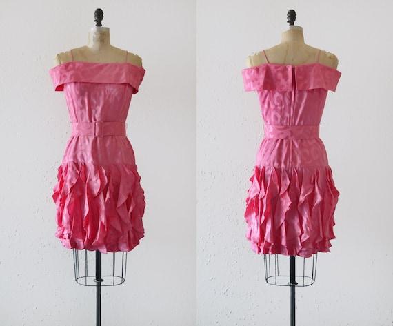 1980s Hot Pink Silk Off the Shoulder Mini Dress /