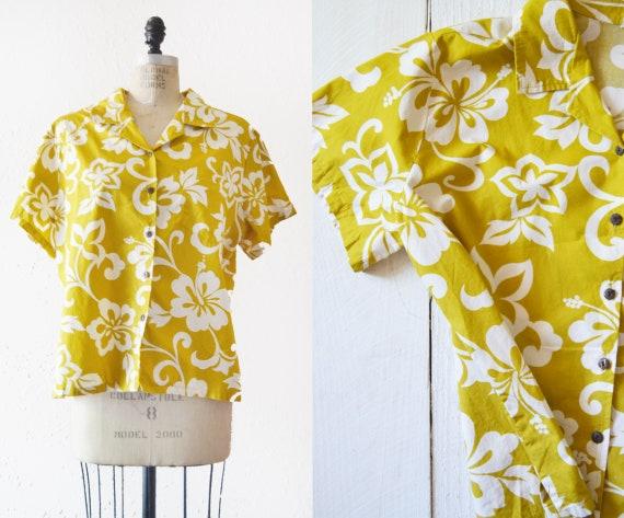 1980s Hawaiian Print Camp Shirt / vintage cotton c