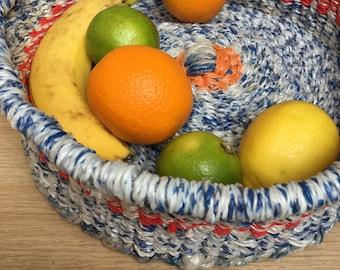 Plastic woven fruit bowl, fruit basket, recycled bowl, recycled plastic bowl, woven bowl, woven basket bowl, african bowl, storage basket
