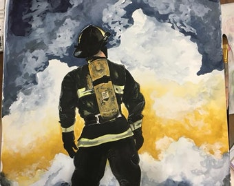 """Original watercolor """"Firefighter"""" - Very dramatic painting."""
