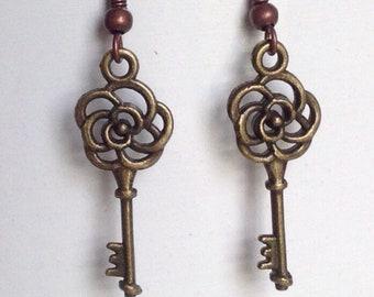 Rose Key Earrings