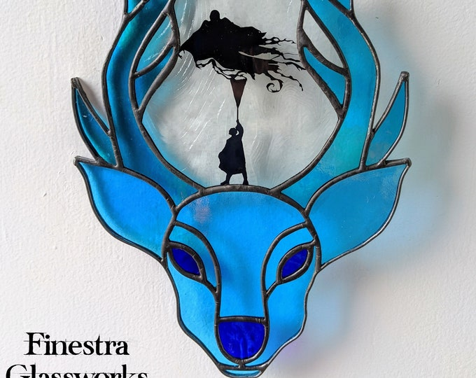 Featured listing image: Iridescent Blue Stag Stained Glass Suncatcher