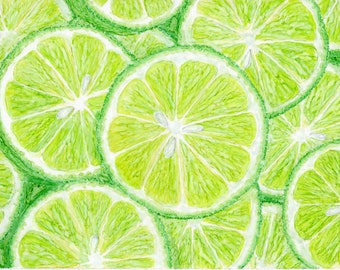 Lime slices, part four of a citrus series. This is a 5x7 original painting.