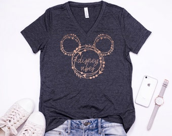d446714329c Disney Shirt - Disney Vibes - Rose Gold Foil - Tank - V Neck - Crew