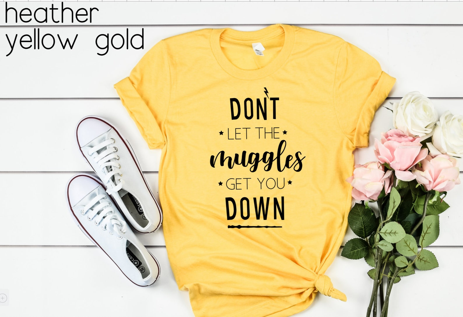 Harry Potter T-shirts that say don't let the muggles get you down