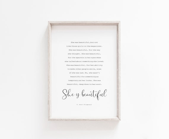 She Was Beautiful Printable Wall Art F Scott Fitzgerald Etsy