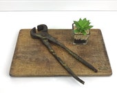Old Vintage Forge Blacksmith Tongs, Antique Metal Iron Tool Anvil Forging Farriers 10 quot