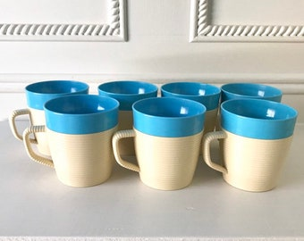 120aec652fa Set of 7 Mid Century Mugs, Plastic Thermal Mugs, Raffiaware by Thermo Temp,  Vintage Ribbed Coffee Cups