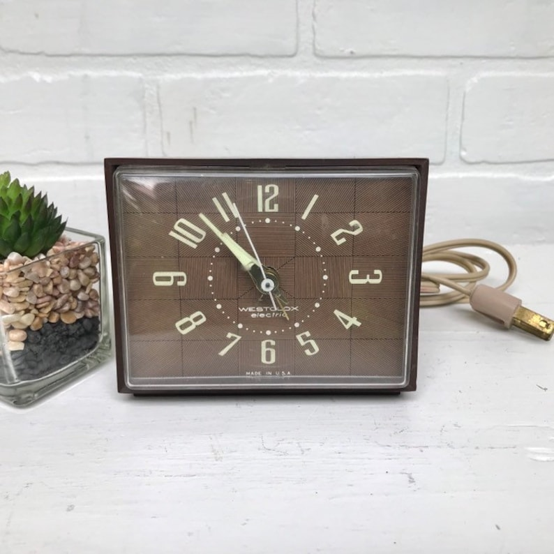 Vintage Electric Alarm Clock Westclox Dunbar Electric Clock Analog Dial  Electric Alarm Clock
