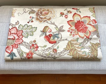 Floral Upholstery Drapery Fabric by the Yard, P Kaufmann Designer Fabric Large Floral Print in Coral and Sand / Beige