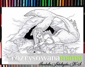 Adult Coloring Page Grayscale Download Mermaid Siren Printable Book Pages Fantasy Underwater Lineart