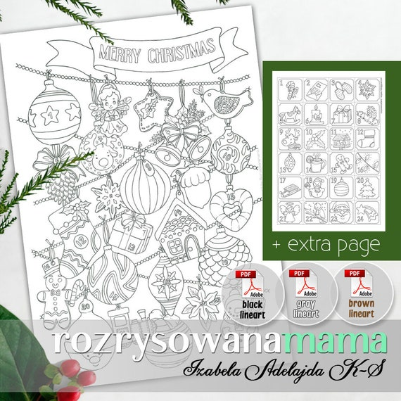 Christmas Coloring Pages Pdf.Christmas Coloring Advent Calendar Printable Pdf Coloring Page For Download Two Pages Chrinstmas Countdown Brown Black Gray Lineart