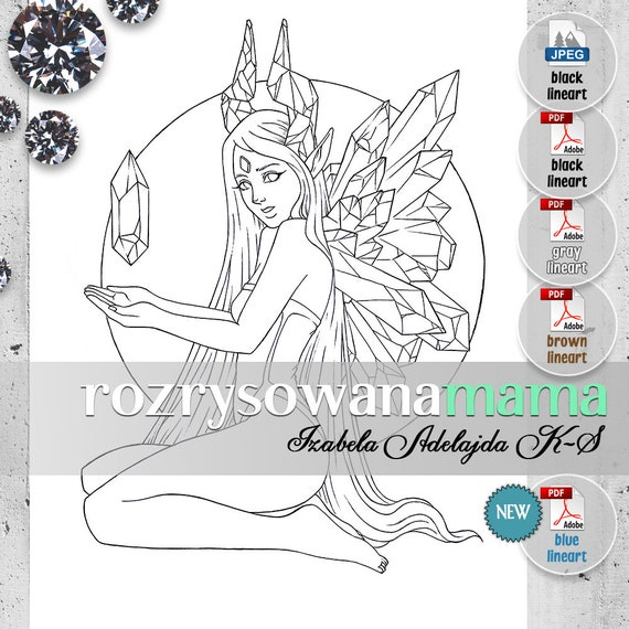 Crystal gem Fairy 2 - Adult coloring page download - Elves printable  coloring book pages. Fantasy black, gray, brown and blue lineart.