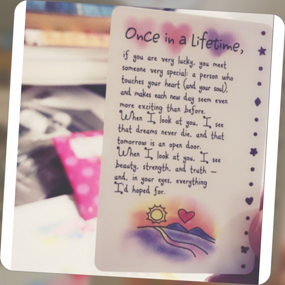 Once In A Lifetime Love Wallet Card Love Poem Poetry Love Etsy