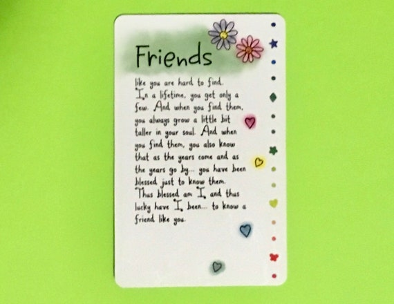 friends wallet card friendship bff friends gift
