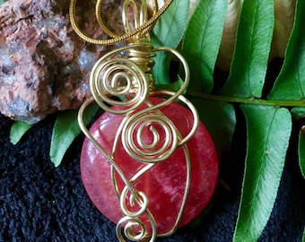Wirewrapped Cherry Quartz Pendant