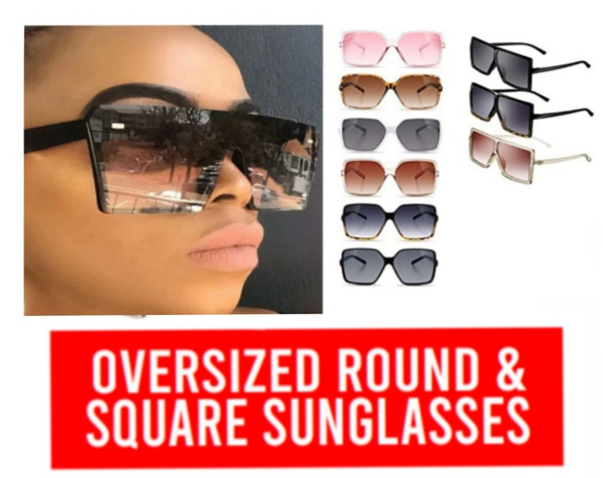 Featured listing image: Oversized Retro Big Round/ Square Womens Sunglasses |Christian Apparel| Jesus Clothing| women Accessories| Faith Based Clothing