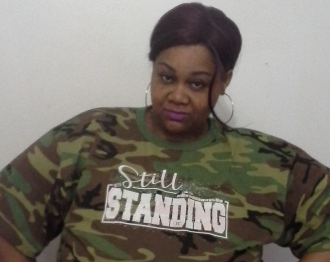 Still Standing Womens  Unisex Camouflage Tshirt