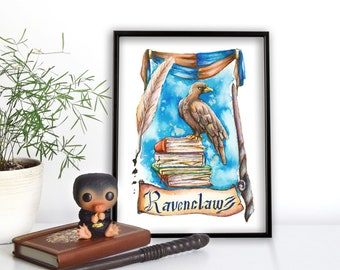 Watercolor art print Ravenclaw Eagle Poster Din A4, Din A5 and postcard