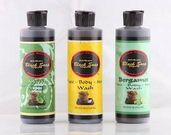 "Zainabu ""AFRICAN BLACK SOAP"" liquid Face Hair And Body Wash Mint / Bergamot / Natural"