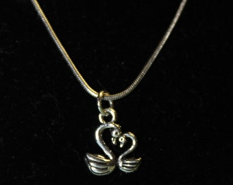 """20"""" Stainless Steel Necklace with Swan Charm"""