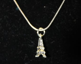 "20"" Stainless Steel Necklace with Eiffel Tower Charm"