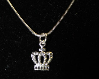 """20"""" Stainless Steel NEcklace with Crown Charm"""