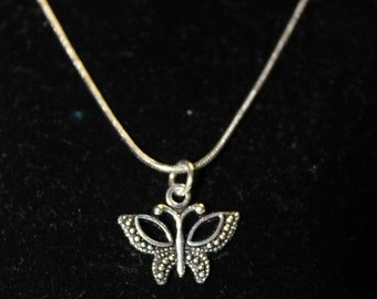 """20"""" Stainless Steel Necklace with Butterfly Charm"""