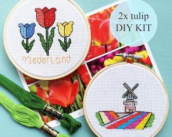 "Tulips and Keukenhof Garden Set | 2 cross stitch DIY KITS | 10cm / 4""| complete packages | Dutch culture pixel art | Heritage | Windmills"
