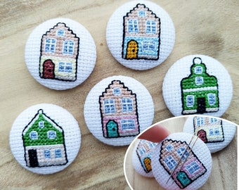 Cross Stitch Needle Minder Dutch houses | 4cm | Magnet | Handstitched | Magnetic | Canal Houses | Zaan Houses | Amsterdam | Zaandam | Gift