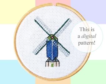 "Molen de Put Leiden cross stitch PDF pattern | 10cm / 4"" | instant digital download | Dutch culture pixel art | Heritage | Windmills"