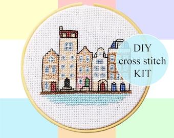 "Canal Houses Amsterdam cross stitch DIY KIT | 10cm / 4"" | complete package | Dutch culture pixel art | Heritage | Dutch houses"