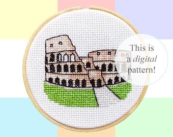 "Colosseum Rome cross stitch PDF pattern | 10cm / 4"" | instant digital download | Italian world wonder pixel | Heritage | Roman Archaeology"