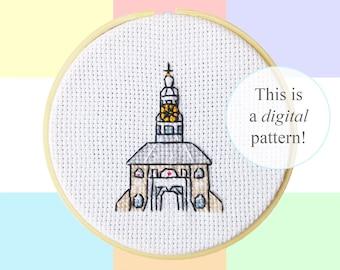 "Zijlpoort Leiden cross stitch PDF pattern | 10cm / 4"" | instant digital download | Dutch culture pixel art | Heritage | City Gates"