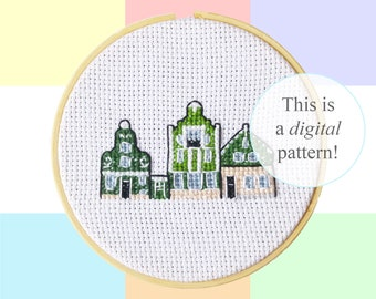 "Zaan Houses Zaandam cross stitch PDF pattern | 10cm / 4"" | instant digital download | Dutch culture pixel art | Heritage | Dutch houses"