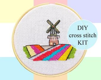 "Keukenhof Lisse cross stitch DIY KIT | 10cm / 4""| complete package | Dutch culture pixel art | Heritage | Windmills"