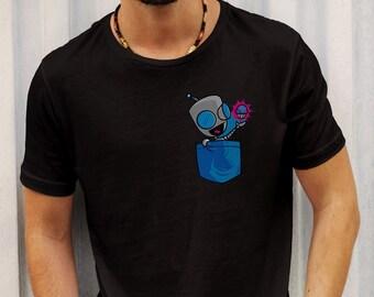 Invader Zim Pocket Gir Men T-shirt Gir Shirt Invader Zim T-shirt Irken T-shirt Irken symbol T-shirt