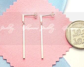 Bar Pendant Earrings - S925  - Sterling Silver
