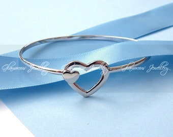 Double Love Heart Bangle  - S925 - Sterling Silver