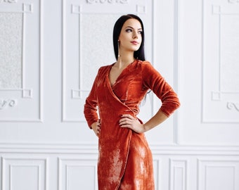 3134a6e907 Silk velvet wrap dress