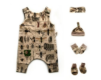 garden theme harem romper baby gift set Newborn baby coming home outfit with rabbit floral print gender neutral organic baby clothes