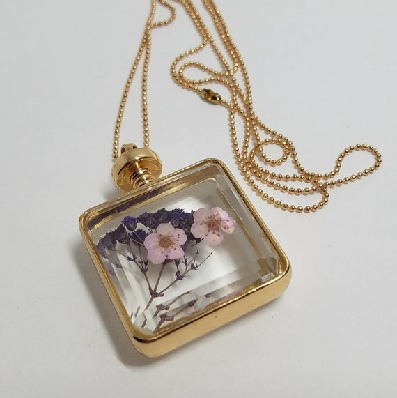 Dried Flowers  Glass Pendant Necklace