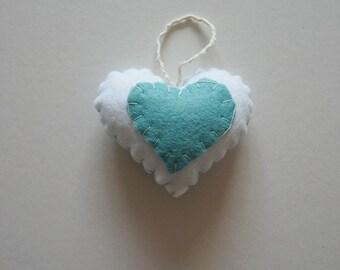 Felt hanging heart decoration