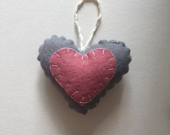 Pink/Grey heart decoration