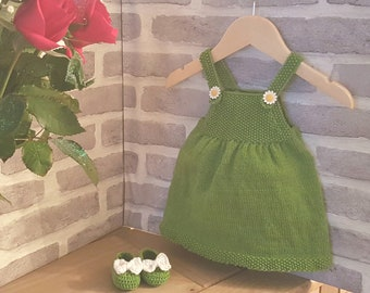 Baby pinafore dress and shoes handknit set