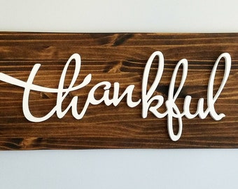 Custom Thankful wooden sign