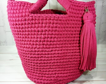 Knitted bag, Knitted bag fuscia, Tshirt yarn, Shoulder bag, knitted handbag, shopper, summer bag, cotton bag, Trendy accessories