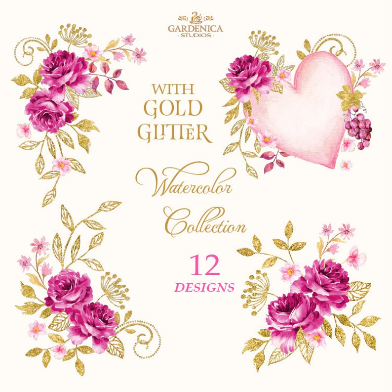 Wine Watercolor Clipart Winery Red Flower Clipart Roses Etsy