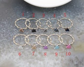 6mm,Natural Geode Agate Rings Charms,Titanium Drusy Triangle Shape Silver Rings Crafts, Adjustable Druzy Inlay Copper Ring Jewelry,1-10Pcs