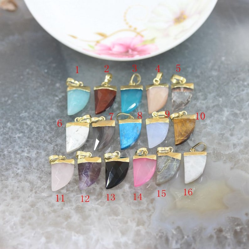 1-10pcs,Natural Gemstone Horn Arrow Gold Bail Stone Pendants Necklace Charms,Faceted Crystal Agate Quartz Crescent Earring Jewelry Crafts